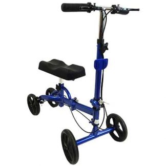Forward angled facing knee walker, four black wheels, curved knee support cushion and blue metal folding frame.