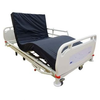 White homecare hospital bed, with headboard and foot board, but only one side rail attached. The navy blue mattress is on the bed and both the back rest and knee break are raised.