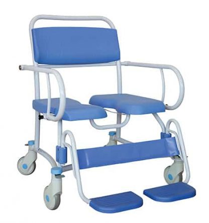 Full angled front view of the bariatric commode with the blue padding and calf support, white arm rests and four castor wheels
