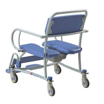 Rear view of the XXL commode showing the white castor wheels and brakes, the blue seating and pan, detachable armrests and attendant handle.