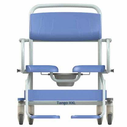 Front view of wide seat XXL white framed showerchair commode with blue seating, back padding and calf support.