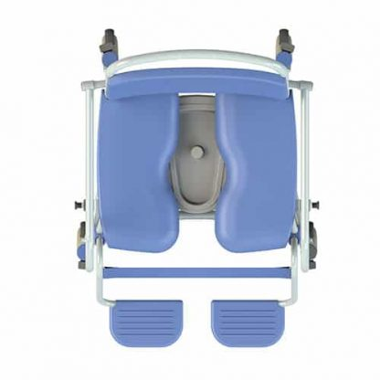 Overhead view of XXL shower chair commode with individual blue footplates and grey under seating pan