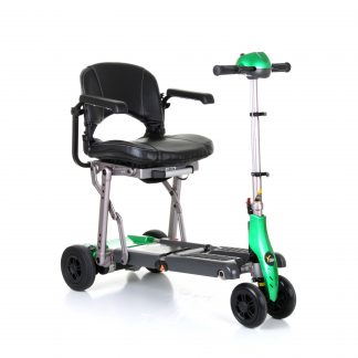 Green, black and silver Excel Yoga fully unfolded, showing the four wheels, the arm rests and the adjustable tiller.