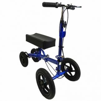 Side view of the blue and black outdoor knee walker, with the four tyres , steering handles and curved knee rest.