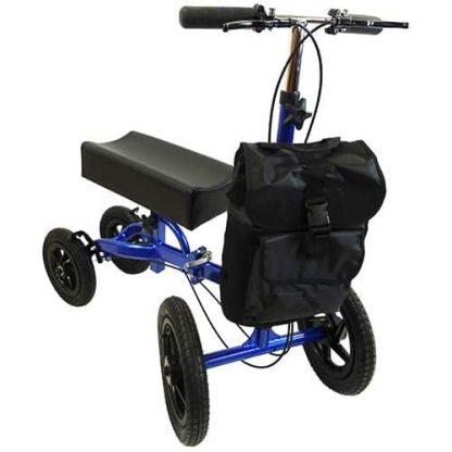Blue and black outside knee walker, four outdoor tyres and a basic curved knee pad, facing slightly forward with the black shopping bag attached on the front.