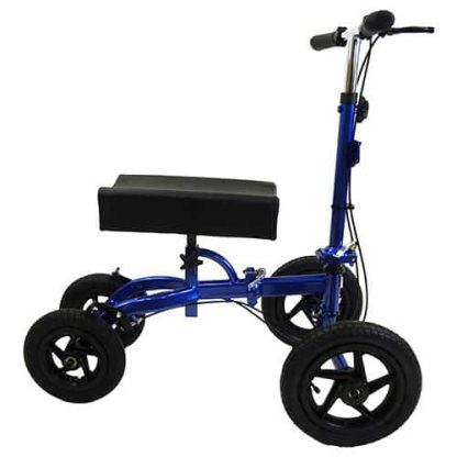 Blue and black outside knee walker, four outdoor tyres and a basic curved knee pad, facing to the right.