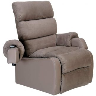 Light beige XXL-HD rise and recliner, with no tilt or recline present. One swing-away arm rest is opened away from the seat with the remote control on top.