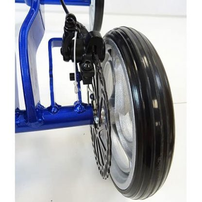 Black standard wheel and disc brake attached to the bright blue aluminium knee walker frame.
