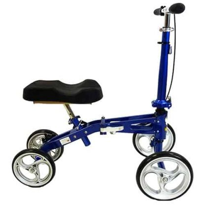Side view of the black and blue aluminium knee walker, with four wheels, the steering handles and the shaped knee pad.
