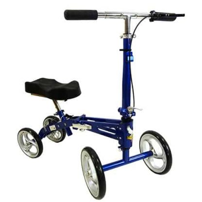 Front angled view of the blue and black deluxe knee walker, showing the knee padding, the four wheels and the brakes on the handle bar.