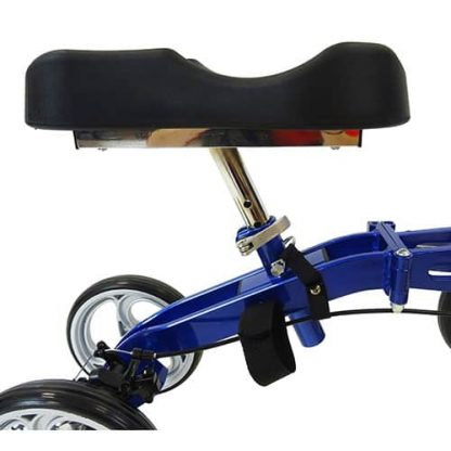 Side facing black padded knee rest, the curved knee rest is attached to the blue aluminium frame.
