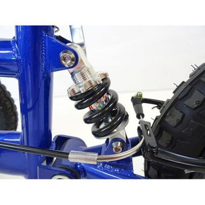 Out-door suspension on the knee walker, showing the attachment from the frame to the tyre.