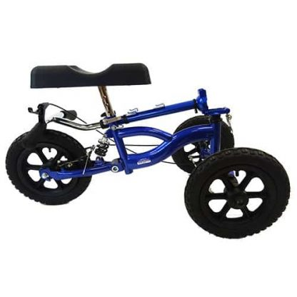 Blue and black suspension knee walker, with the handle frame folded down onto the three tyres.