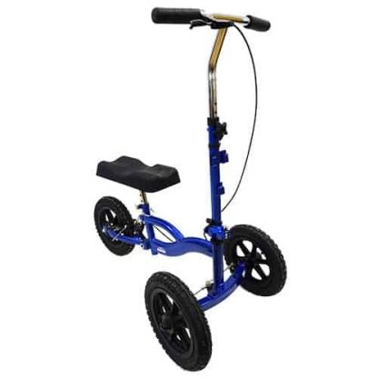 Dark blue and black 3-wheeled suspension knee walker with comfort knee rest and the handles slightly turned.