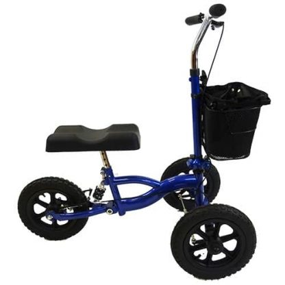 Side view of the suspension knee walker showing the three tyres, knee pad and shopping basket attached to the front.
