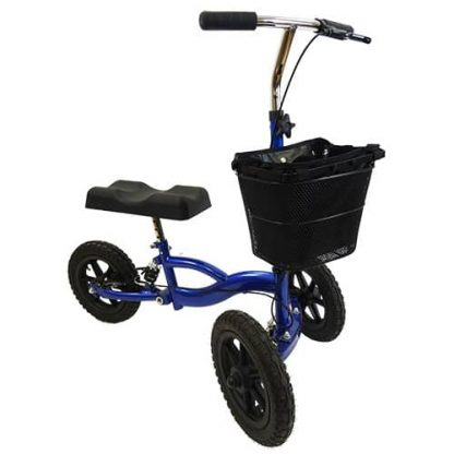 Front angled view of the blue outdoor suspension knee walker showing the handles and brake, three large black tyres and the black shopping bag attachment.